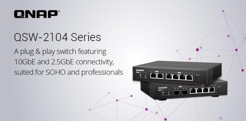 NP: QNAP presenta la serie QSW-2104 de switches no gestionables con 6 puertos y conectividad de 10GbE y 2,5GbE para pequeñas empresas y profesionales
